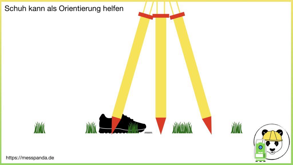 Schuh kann beim Zentrieren als Orientierung helfen