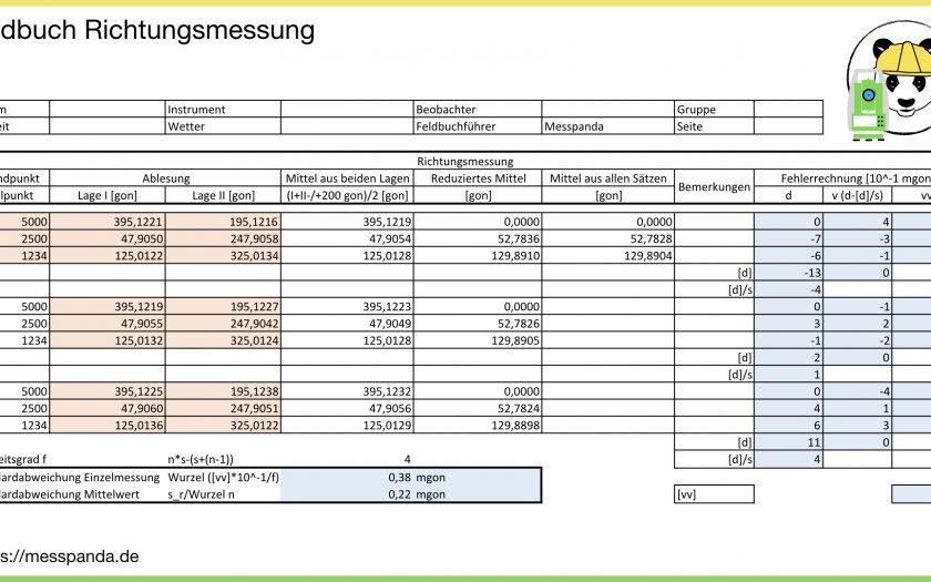 Feldbuch für die Horizontalrichtungen (berechnet mit Excel)