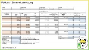 Feldbuch Zenitwinkelmessung (berechnet mit Excel, Klick aufs Bild zum Vergrößern)