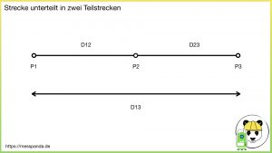 Strecke unterteilt in zwei Teilstrecken