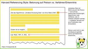 Harvard Referencing Style: Betonung auf Person vs. Verfahren/Erkenntnis