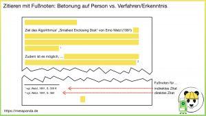 Referenzierung mit Fußnoten: Betonung auf Person vs. Verfahren/Erkenntnis